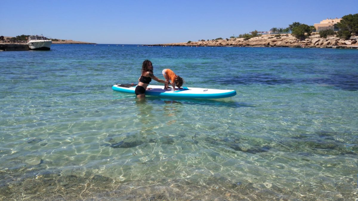 SUP yoga with kids in Ibiza